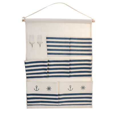 Lovoski Cotton Linen Storage Bag Wall Door Wardrobe Hanging Multi-storey