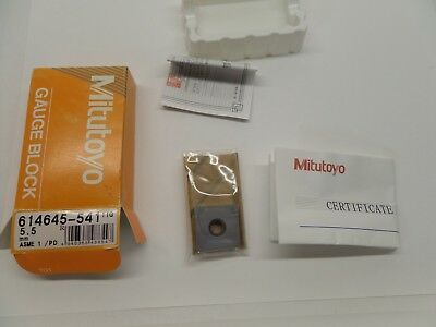 NEW SEALED MITUTOYO GAUGE BLOCK WITH PAPERWORK STEEL ASME 1 614645-541 5.5 mm