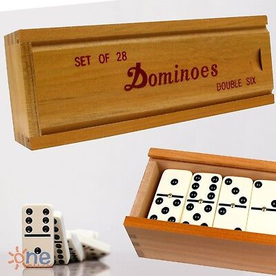 Double Six 6 Professional Dominoes Game Set 28 Piece Domino Tiles in Wooden Case