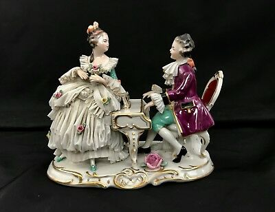 DRESDEN LACE PIANO GROUP COUPLE Porcelain Figurine German Ackermann and Fritze