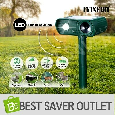 Maxkon Ultrasonic Solar Power Animal Pest Control LED Bird Repellent Repeller