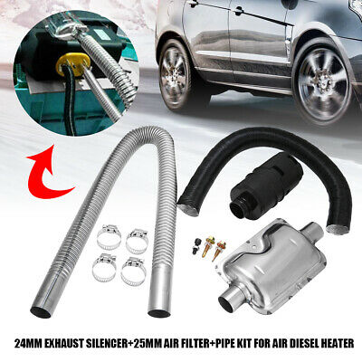 For Air Diesel Heater 24mm Exhaust Silencer + 25mm Air Filter + 2 Pipe Accessory