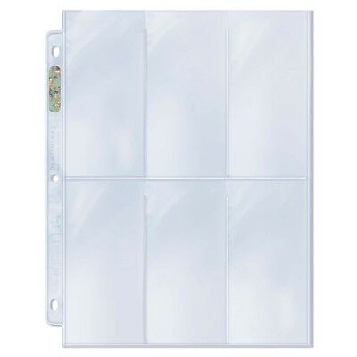 "Ultra PRO 6-Pocket Binder Pages Tall Cards Platinum 2-1/2"" x 5-1/4 Clear x 10"