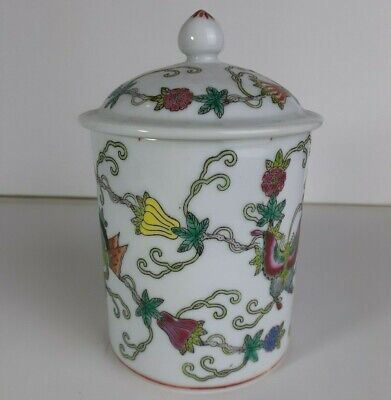 Chinese porcelain incense burner with floral / butterfly decoration. Beautiful!!