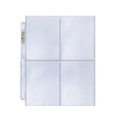 "Ultra PRO 4-Pocket Binder Pages Postcard Card Platinum 3-1/2"" x 5"" Clear x 10"
