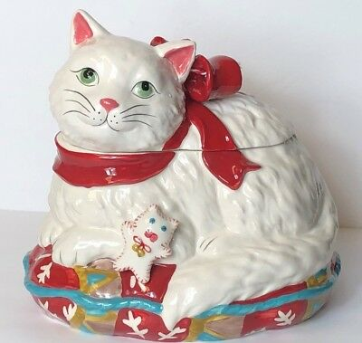 Blue Sky Clayworks WHITE CAT KITTY Cookie Jar Christmas Holiday Goldminc 2018