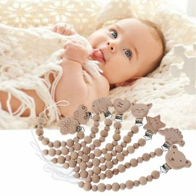 Beech Wood Beaded Baby Pacifier Clip Chain Nipple Holder Infant Soother Teether