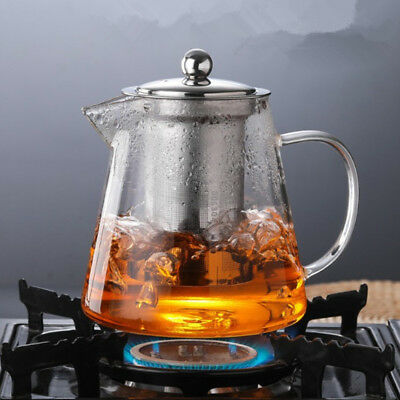Heat Resistant Clear Glass Teapot Jug With Infuser Coffee Tea Leaf Herbal