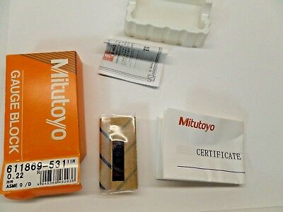 NEW SEALED MITUTOYO GAUGE BLOCK WITH PAPERWORK STEEL ASME 0 611869-531 0.22 mm