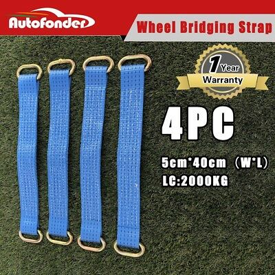 "4PC Wheel Bridging / Link / Strap Trailer Tie Down Car Recovery 16"" /40CM"