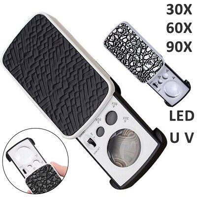 Pockets Magnifying 30/60/90X Jewellers Magnifier Glass UV LED Light Loupes