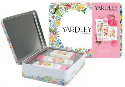 Yardley Tin English Rose Hand Cream Shea Lotion Body Spray Soap Shower 3pcs