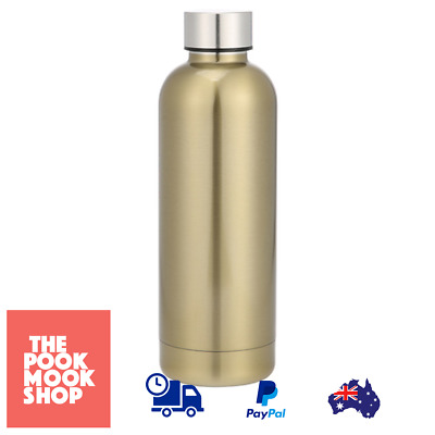 Double Wall Insulated Bottle Brass Look Stainless Steel Cold Hot Drinks Beverage