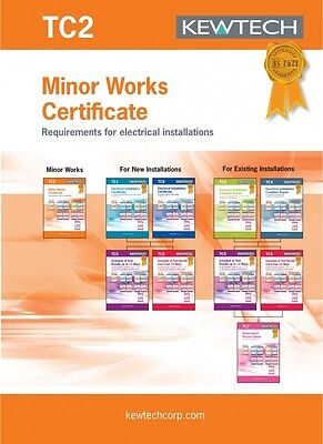 Kewtech TC2 Minor Works Certificate  (Requirements for Electrical Installations)