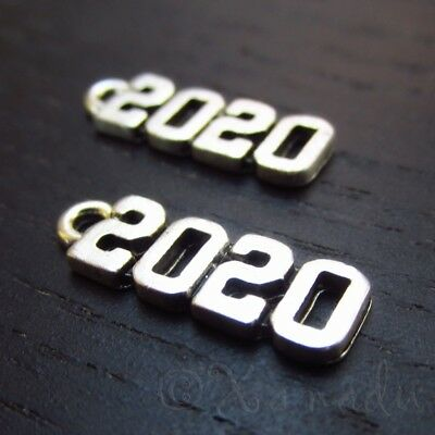 Year 2020 Charms - 20mm Antiqued Silver Plated Pendants C3581 - 10, 20 Or 50PCs