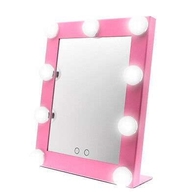 9 LED Bulb Vanity Pink Hollywood Makeup Mirror with Light Dimmer Stage Large