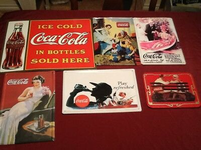 Lot Of 6 Vintage Style Coca-Cola Metal Poster Wall Signs Advertisements Coke