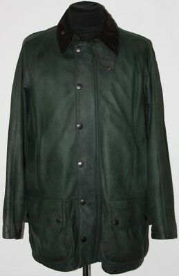 Genuine BARBOUR Beaufort Limited Edition Real Leather Wool Green Jacket Size L