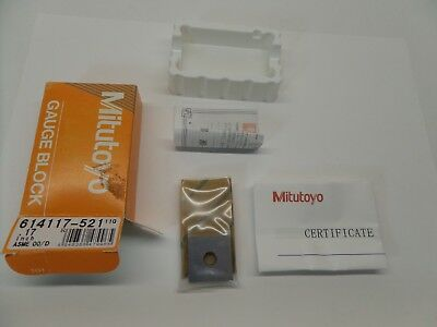NEW SEALED MITUTOYO GAUGE BLOCK WITH PAPERWORK STEEL ASME 00 614117-521 0.17 in