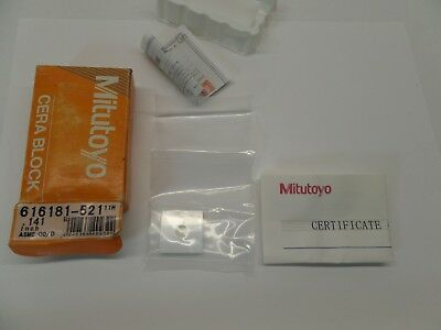 NEW SEALED MITUTOYO GAUGE BLOCK WITH PAPERWORK CERA ASME 00 616181-521 0.141 in