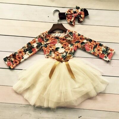 Baby Girl Kid Party Tutu Lace Long Sleeve Floral Dress Wedding Birthday Princess
