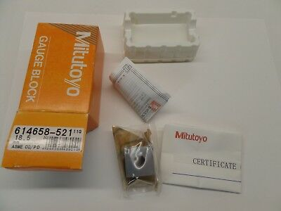 NEW SEALED MITUTOYO GAUGE BLOCK WITH PAPERWORK STEEL ASME 00 614658-521 18.5 mm
