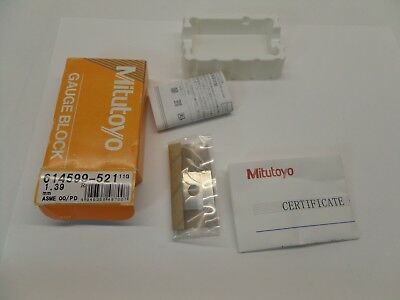 NEW SEALED MITUTOYO GAUGE BLOCK WITH PAPERWORK STEEL ASME 00 614599-521 1.39 mm