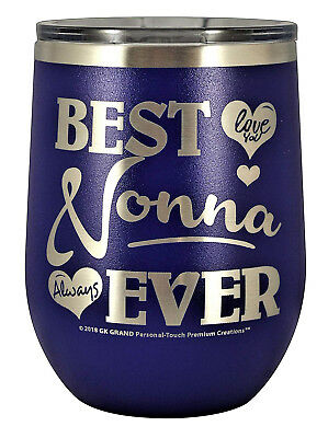 """(350ml Wine, Purple) - NONNA GIFT – """"BEST NONNA EVER ~ LOVE YOU"""" Stainless"""