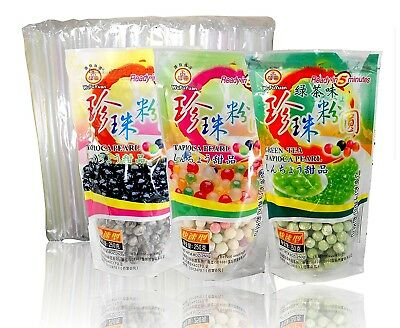 3-Pack Boba Tapioca Pearls 3 varieties with 1 pack of 50 Boba Wide Straws