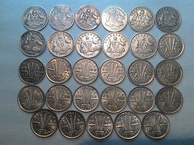 Set of 29 Australian Threepence's 14 x 92.5% Silver 15 x 50% Silver allDifferent