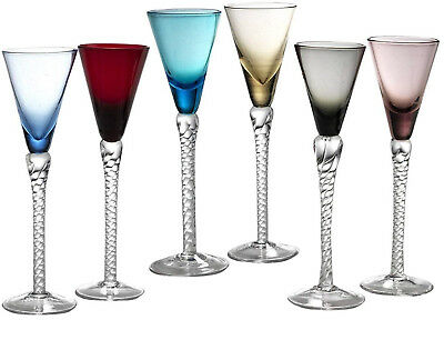 Circleware Twist Multi Coloured Cordial Wine Whiskey Glasses with Clear Stems,