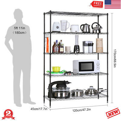 5-Tier Heavy Duty Iron rack Extra Large Shelving Unit 200Kg Weight Capacity USA
