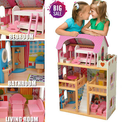Wooden Kid Doll House 18 Furniture Miniature Dollhouse Playhouse Toys Girls Gift