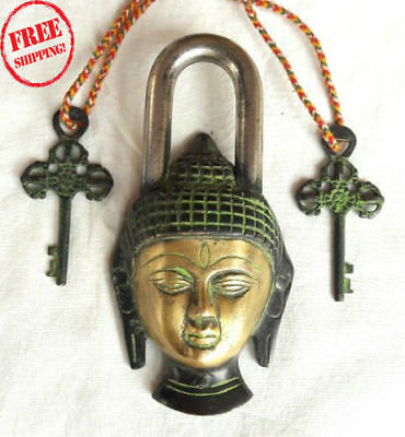 Brass Fine Heavy Handcarfted Lord Buddha Engraved Unique Shape 2 Key Padlock