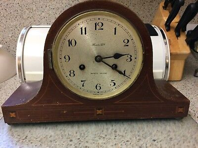 """Antique Fear's Ltd Mantel Clock with Marquetry inlay. 1908 - 1930, 14"""" l x 9"""" h"""