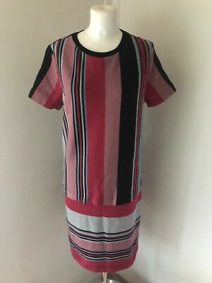NEXT Ladies Red And Blue Stripe Stretchy T Shirt Style Shift Dress Size 12