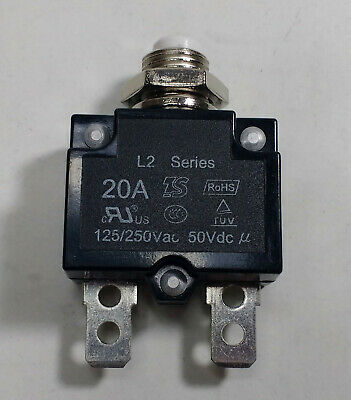 12V 24V Push Button Re-Settable Thermal Circuit Breaker 20A Panel Cb20A Mure