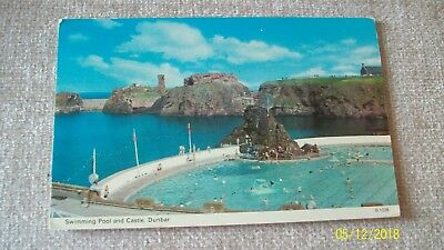 Postcard-- Swimming  Pool And Castle , Dunbar