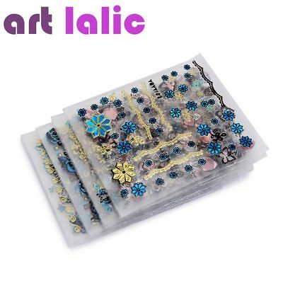 ArtLalic® 24Pcs/Lot Gold Blue Foil Nail Stickers DIY Glitter Beauty 3D Nail Art