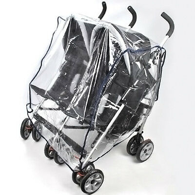 Universal Kid Transparent Double 360 Stroller Rain Cover Sitting Side