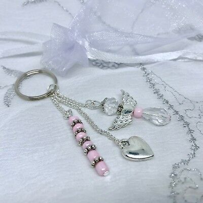 New Love Heart and Angel Wing Charm Keyring ~ Silver Pearlescent ~ Gift Idea
