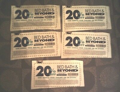 Bed Bath And Beyond 20% off Coupons  LOT OF 5 - Exp.2/4/2019 -ONLINE OR IN-STORE