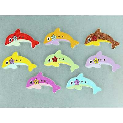 Dolphin Fridge Magnets cute strong neodymium painted wood - 4 gift boxed
