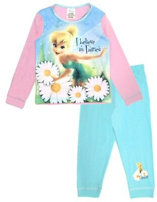 Disney Tinkerbell Long Pyjamas Girls Fairy 2 Piece Pjs Set Kids Nightwear Size
