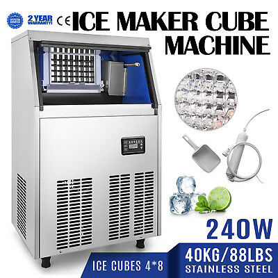 40KG/88LBS Commercial Ice Cube Maker Machine Bakeries Restaurants Auto Clean