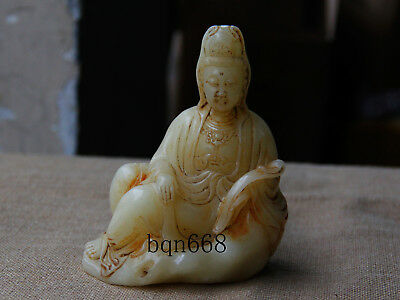 China Old antique carved old white jade sit ruyi guanyin statue