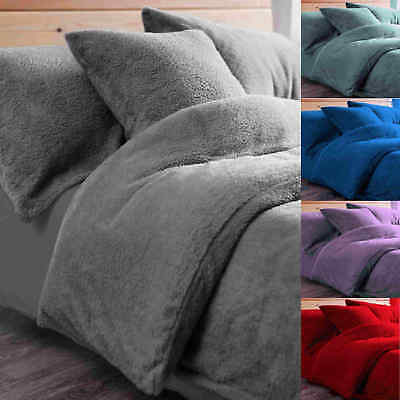 Fleece Duvet Quilt Cover Bedding Thermal  Winter Warm Teddy Snuggle