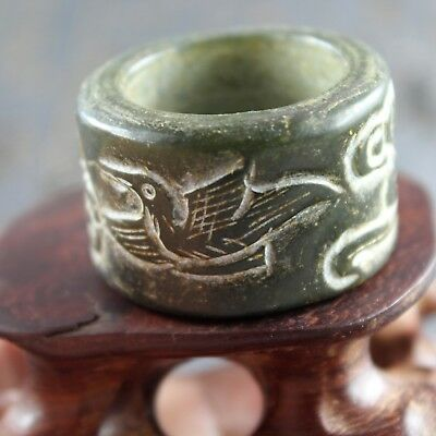 0.9'' Chinese old green jade hand-carved ancient bird thumb ring Banzhi 0264