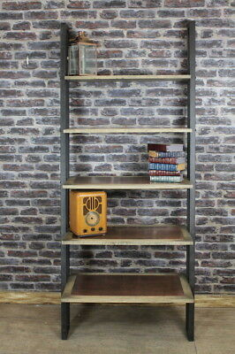 Copper And Oak Shelving Unit With Square Steel Framework