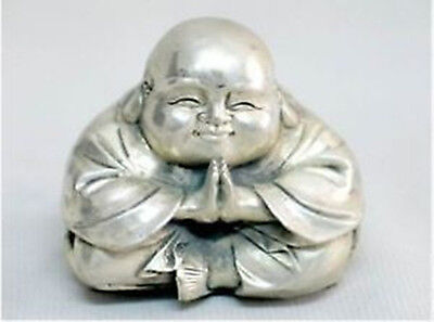 Chinese Old Tibet Silver  Sitting Laughing Kindly Small Buddha Statue